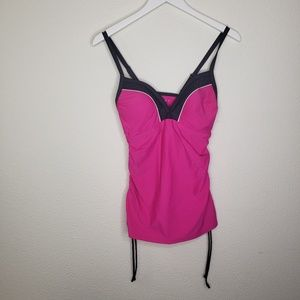 Free Country Hot Pink Black Tankini Top